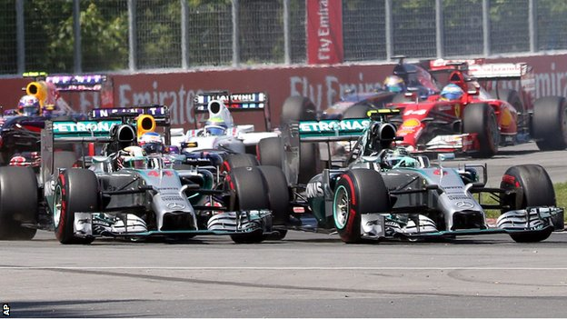 Lewis Hamilton and Nico Rosberg of Mercedes