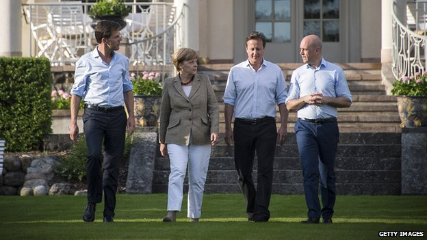 (L-R) Dutch PM Mark Rutte, German Chancellor Angela Merkel, British PM David Cameron and Swedish PM Fredrik Reinfeldt an informal meeting on 9 June 2014 in in Harpsund, Sweden.