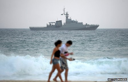 A Brazilian Navy warship pictured off England's World Cup base hotel
