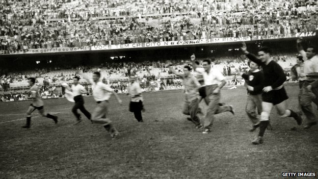 The Uruguayans celebrate victory