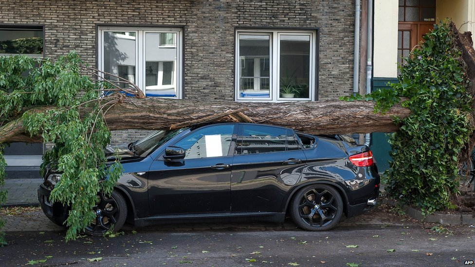 Uprooted tree lies across a car in Dusseldorf, Germany. 10 June 2014