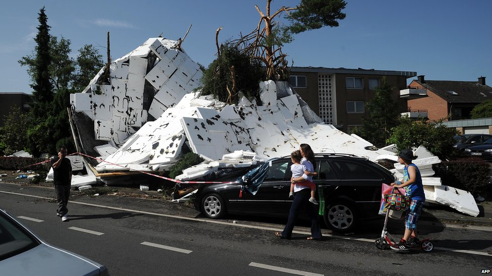 Remains of a roof in Neuss, Germany. 10 June 2014