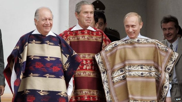 From left to right, President of Chile Ricardo Lagos, U.S. President George W. Bush and Russian President Vladimir Putin