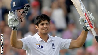 Alastair Cook celebrates a century against South Africa in 2012