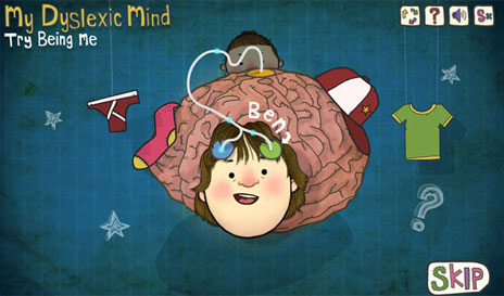 A cartoon picture from CBBC's Try Being Me - My Dyslexic Mind