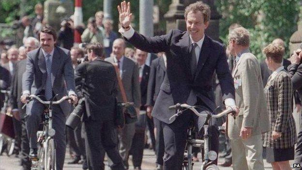 Tony Blair on a bike in Amsterdam