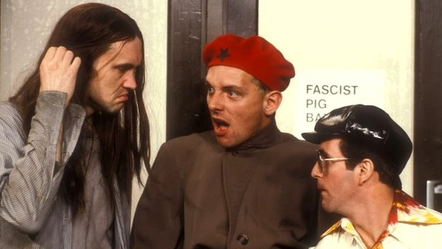 Nigel Planer as Neil, Rik Mayall as Rick and Christopher Ryan as Mike
