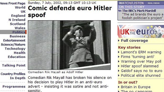 A screen grab from the BBC News website report from 2002