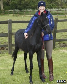 Charlotte Dujardin with Santa the foal