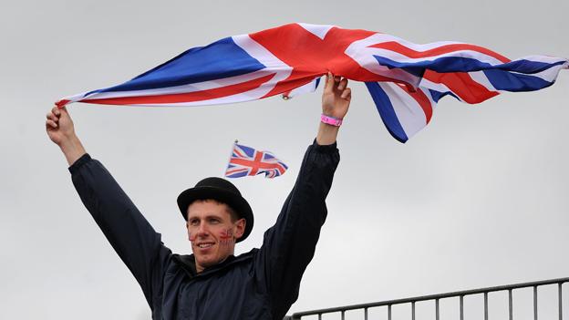 Sports spectator with abundance of Union Jacks