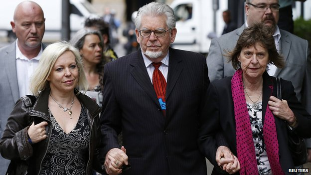Bindi and Rolf Harris and niece Jenny outside Southwark Crown Courts