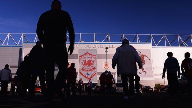Fans arrive at Cardiff City's stadium