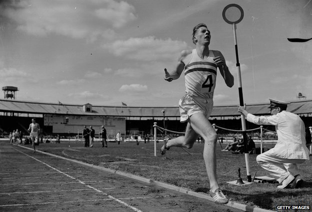 Roger Bannister running the four-minute mile, 1954