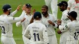 Warwickshire's players celebrate  a Jeetan Patel wicket against Lancashire at Edgbaston