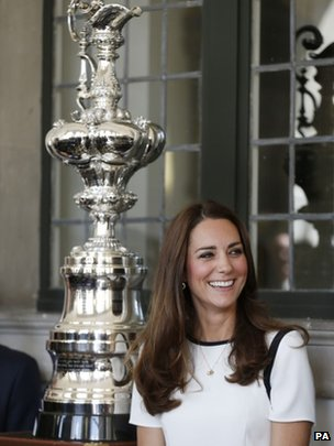 Duchess of Cambridge with America's Cup