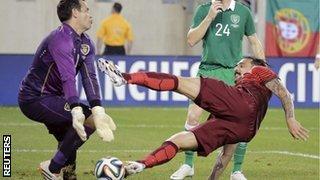 Portugal's Hugo Almeida scores against Ireland