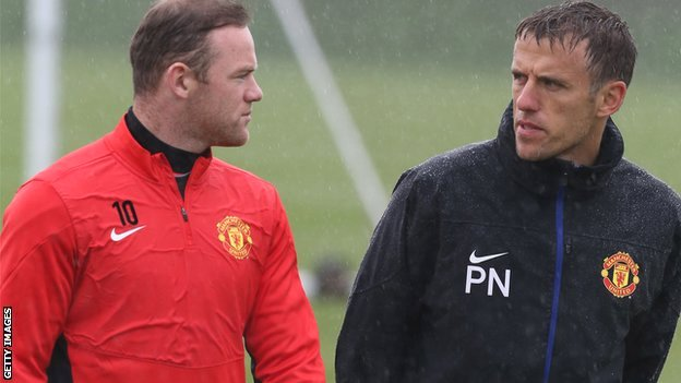 Wayne Rooney and Phil Neville
