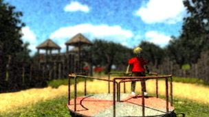 A still from the game Auti-sim showing a child on a roundabout
