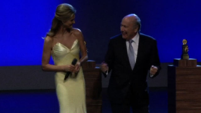 Fifa president Sepp Blatter and presenter Fernanda Lima