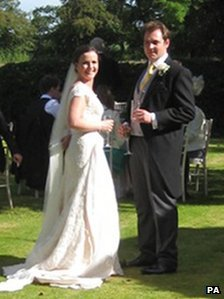 Caroline Marshall and James Granshaw on their wedding day