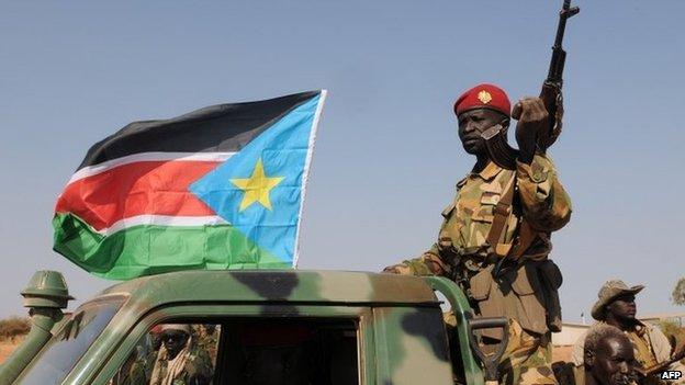 South Sudan soldiers in Bentiu in January 2014