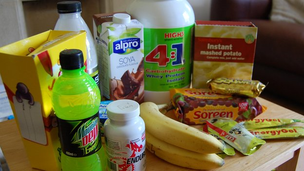 Some of the foods consumed by Jeremy Mower during an ultra-marathon