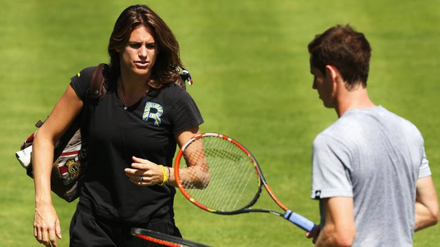 Amelie Mauresmo (left) and Andy Murray