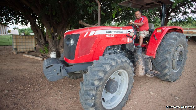 Daniel Alves's father on his tractor at his farm