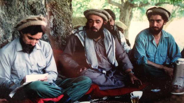 Abdullah Abdullah (far right) with Ahmed Shah Massoud (left)