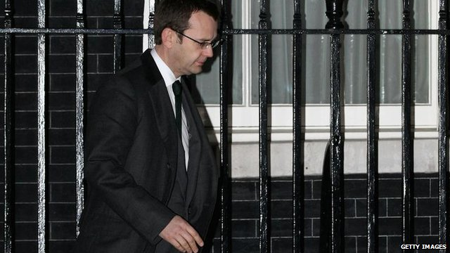 Andy Coulson leaving Downing Street after his resignation