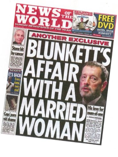 News of the World front page revealing Blunkett's affair in 2004