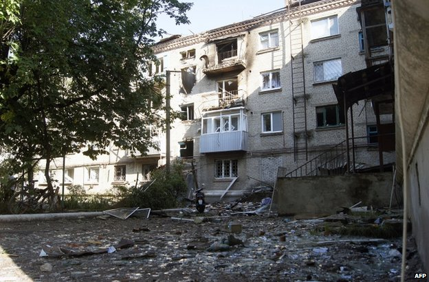 A ruined flat in Sloviansk, eastern Ukraine, 10 June
