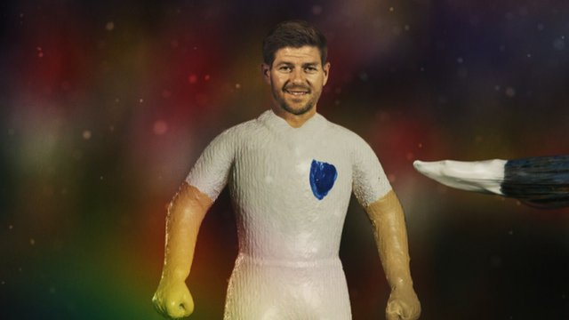 Steven Gerrard as an action figure in the BBC's 2014 World Cup titles.