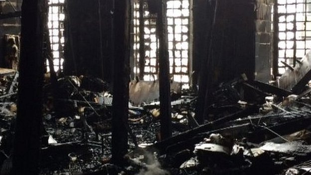 Fire damage incise the Mackintosh building