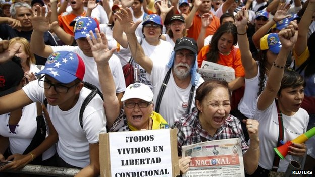 Opposition supporters rally against President Maduro. 8/06/2014