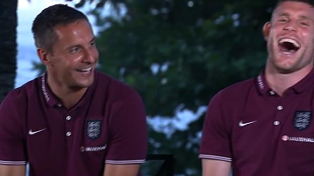England's Phil Jagielka and James Milner