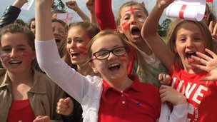 Pupils celebrating in Grimsby