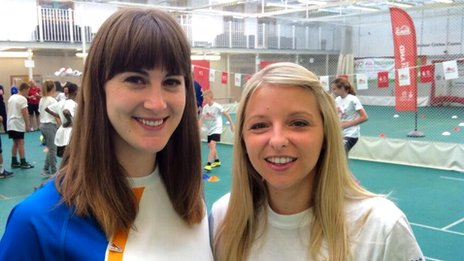 Queen's Baton bearer Laura Beardsmore and organiser Sarah Crossley in Leeds