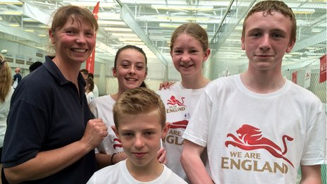 Cathy Mawson, PE teacher at Benton Park Secondary School with pupils