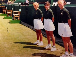 BBC reporter Libby Sutcliffe (centre) and other ball girls at Eastbourne in the late 1980s