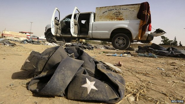 Items abandoned by retreating Iraqi military near Mosul. 11 June 2014