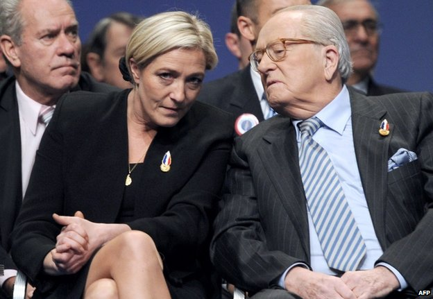 File pic from 2011 of Marine Le Pen with father Jean-Marie Le Pen
