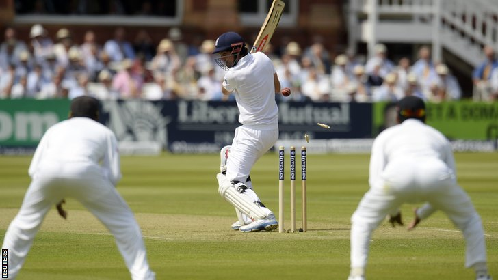 England captain Alastair Cook is bowled