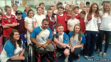 Baton arrives at John Charles Centre