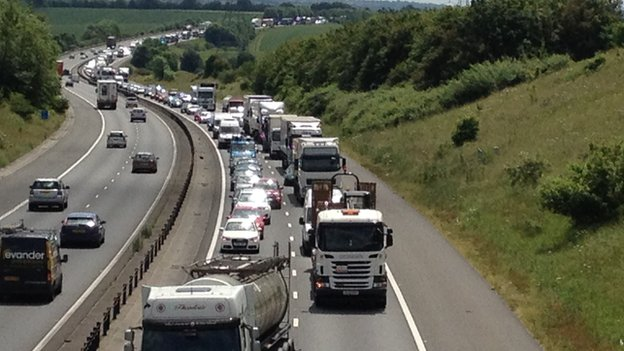 Queues on M11 in Essex after bus fire