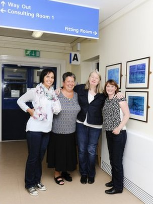 Four women, including Nicola, waiting outside the prosthetics fitting room