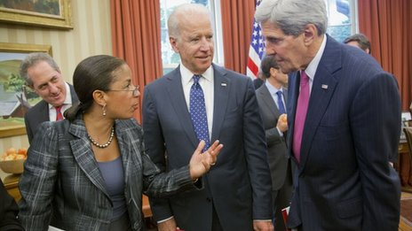 National Security Adviser Susan Rice, second from left, talks with Vice President Joe Biden, centre, and Secretary of State John Kerry in the Oval Office of the White House in Washington 12 June 2014