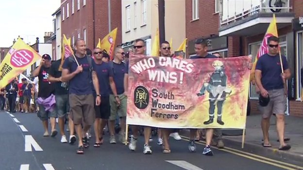 Firefighters marching to Eric Pickles' office
