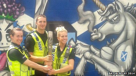 West Yorkshire Police officers with the baton