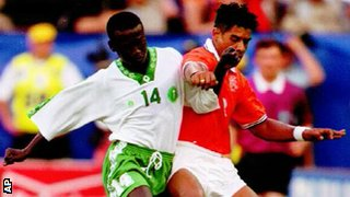 Netherlands midfielder Frank Rijkaard battles for the ball during his side's 2-1 win over Saudi Arabia at the 1994 World Cup.